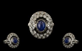 Russian 14ct White Gold Impressive and Quality Sapphire and Diamond Set Dress Ring.