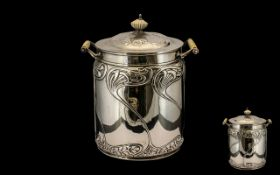 Art Nouveau Superb Quality Sterling Silver Two Handled Lidded Biscuiteer of typical Art Nouveau