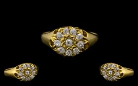 Victorian Period - Attractive and Top Quality 18ct Gold Diamond Set Star Burst Cluster Ring,