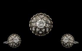 Edwardian Period Superb Quality Diamond Set Ring In Platinum,