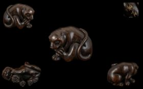 A Japanese Carved Boxwood Netsuke In The Form of a Tiger, Excellent Condition In All Aspects,