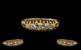 Antique Period 18ct Gold - Good Quality 5 Stone Diamond Set Ring,