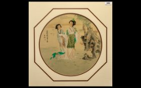 Chinese Fine Quality Republic Period Watercolour Drawing of elegant ladies in a garden landscape;