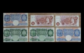 Collection of Old Bank of England United Kingdom Banknotes ( 6 ) Six Banknotes In Total.