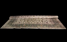 Large Traditional Carpet in Indian Style Agra with floral decoration on ivory ground,