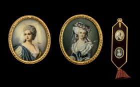 Italian Wall Tassel, Framed Within Two Oval Miniatures on Ivory of An Elegant Ladies on a Plush