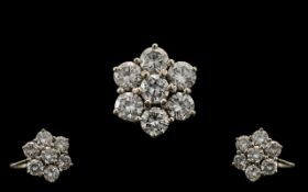 18ct White Gold - Superb Quality Diamond Set Cluster Ring - Flower head Design. Marked 18ct.