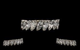 Ladies - 18ct White Gold Stunning Quality Nine Stone - Attractive Half Eternity Diamond Set Ring.