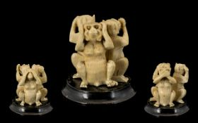 Early 20th Century Ivory Figure Group of Monkeys.