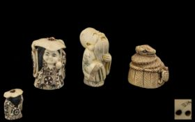 Three Ivory Netsukes, comprising a girl wearing a hat,