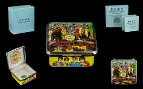 Halcyon Days Ltd and Numbered Edition Enamel Lidded Box Beatles - Stg Peppers Lonely Hearts Band.