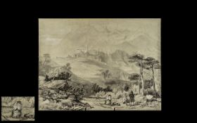 Edward Lear Style Drawing, Unsigned, black Crayon,