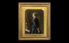 Oil Graph Print of a Victorian Lady In a Gilt Frame After Millais. Size 28 x 24 Inches.