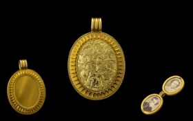 Italian Mid 19th Century Etruscan Revival 18ct Gold Double Locket / Pendant of Oval Form,