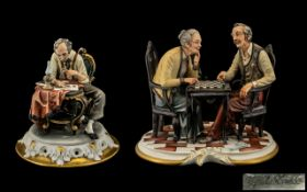 Capi-de-Monte Figure Group of The Chess Players ' Signed Roris ' 10 Inches Wide & 10 Inches High.