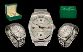 Rolex Gents Oyster Perpetual Silvered Steel Chronometer Wrist Watch with silver dial and luminous