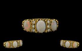 Victorian Period - Superb 3 Stone Opal and Diamond Set Dress Ring. c.