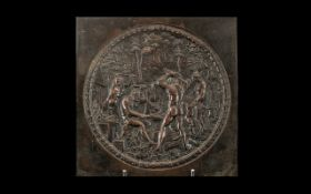 Antique Bronze Plaque depicting Classical Gods working in a foundry;