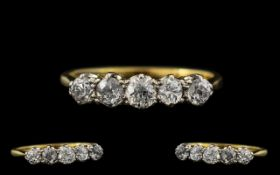 Antique Period - Attractive 18ct Gold and Platinum 5 Stone Diamond Set Ring. Marked 18ct.