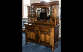 Arts and Crafts Oak Side Board with Mirrored Top with Leaded Glass Side Cabinet with Two Drawers