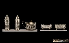 Late Victorian Period Well Designed and Excellent Quality Silver 5 Piece Cruet Set.
