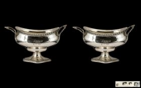 George III Superb Quality - Large and Impressive Pair of Cast Silver Twin Handle Boat Shaped Sauce