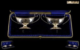 Edwardian Period Nice Quality Boxed Pair of Sterling SIlver Salts of Larger Proportions.