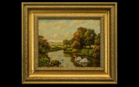 Robert William Bates ( Exh 1924 - 1928 ) RCA 5 - Lived Rowley Cheshire - River Landscape with Swans