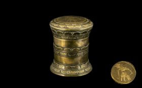 An Antique Oriental Cast Brass Round Lidded Box, with Lotus Decoration to the Body,