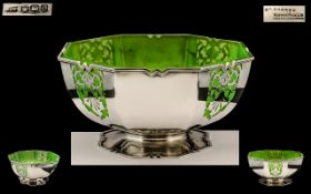 Art Deco Period Mappin & Webb Superb Quality Sterling Silver Fruits Footed Bowl with open worked