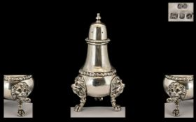 Queen Elizabeth II - Excellent Quality King Size Sterling Silver Pepperette.
