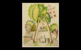 William Ernst Barwell (1911-1974) (British Modern School) Unusual Art Deco Watercolour Drawing,