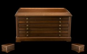 A Vintage - Well Made Teak Wooden Coin Cabinet with Six ( 6 ) Pullout Wide Drawers - Fitted to Hold