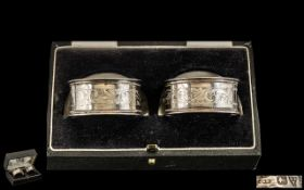 Edwardian Period Nice Quality Pair of Silver Napkin Holders In Original Box. Hallmark Chester 1911.