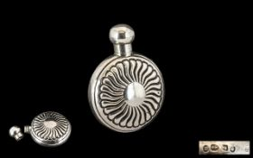 Victorian Period Pleasing Round Silver Screw Top Perfume Bottle with Sun Ray Design to Front and