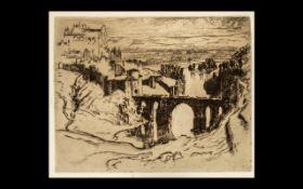 Joseph Pinell - Original Etching of Saint Martins Bridge, Unmounted. Size 9 x 11 Inches.