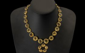 18ct Gold Victorian Citrine Rivière Necklace Set With A Series Of Graduated Round Faceted Cut