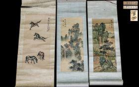Three Chinese Republic Period Miniature Scrolls, hand painted on silk,
