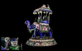 Indian Antique Silver and Enamel Group - Depicting an Elephant Carrying on Howda Mitts Back with