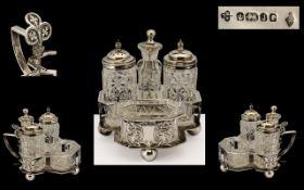 Victorian Period Sterling Silver Superb Quality 4 Piece Cruet Set & Stand excellent form/design.