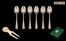 Golfing Interest Set Of Six Silver Teaspoons With Crossed Club And Ball Terminals, Fully