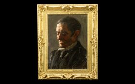 Oil Painting on Board - Titled ' Old Daddy ' By Arthur Mackinder In Swept Gilt Frame.