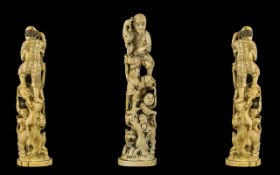 Japanese - Meiji Period 1864 - 1912 Well Carved Ivory Figure Group of Nice Quality,