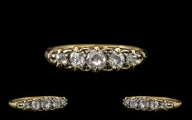 Edwardian Period Attractive 18ct Gold 5 Stone Diamond Ring - In a Gallery Setting, Marked 18ct.