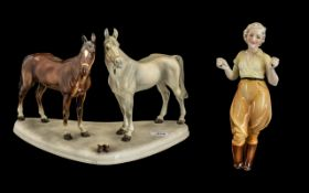 Large Art Deco Figure of Two Horses, with an elegant lady holding the reins.