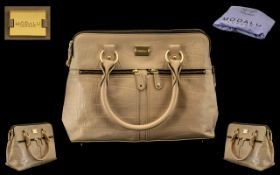 Modallu London Ladies Fashion Handbag In Beige Crocodile Skin with Gilt Mounts with Outer Cotton