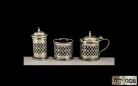 George V Excellent Quality Silver 3 Piece Cruet Set of Excellent Open Worked Design and Solid