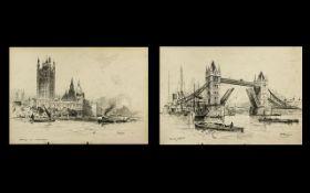 Pair of Prints of London Scenes by F Robson,