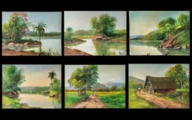 Brazil: Set of Seven Small Oil Paintings on Canvas (without stretchers) depicting Amazon river
