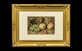 Wm Hunt - 19th Century - Still life of Peaches and Grapes on a Pathway Close to a Mossy Bank